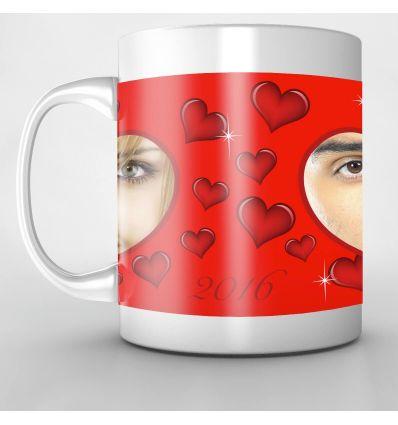 Mug Personnalisé Lèvres 2 Coeurs Photo