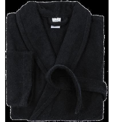 Peignoir de Bain (Homme - Femme) Col Chale FIRST (380g/m2) Noir