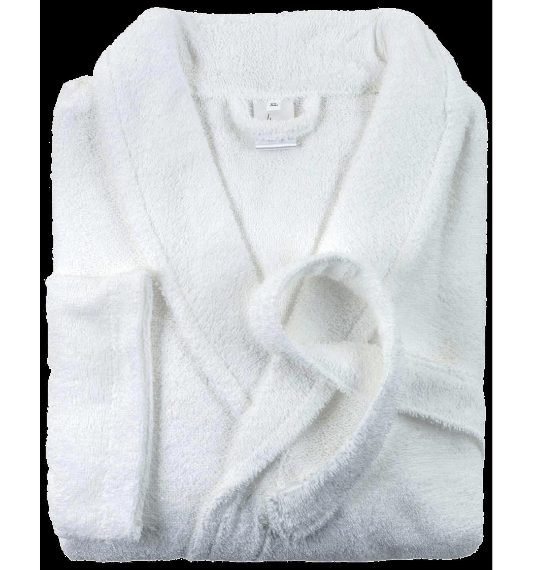 Peignoir brod col chale blanc for Peignoir eponge homme carre blanc