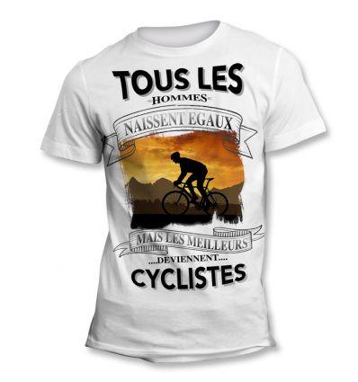 Tee-Shirt Tous les hommes naissent égaux mais les meilleurs deviennent Cycliste Orange