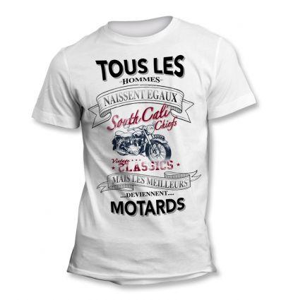 Tee-Shirt Tous les hommes naissent égaux mais les meilleurs deviennent Motard vintage