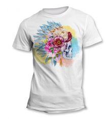 Tee-Shirt Tête de Mort Plumes Fleurs