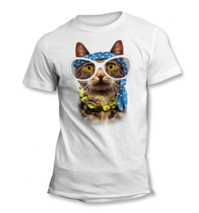 Tee-Shirt Chat Hippie Lunettes