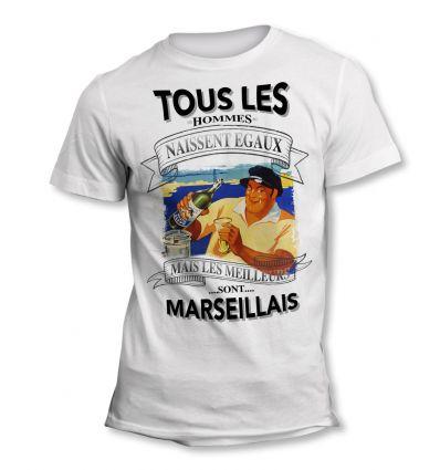 Tee-Shirt Tous les hommes naissent égaux mais les meilleurs sont marseillais Olive