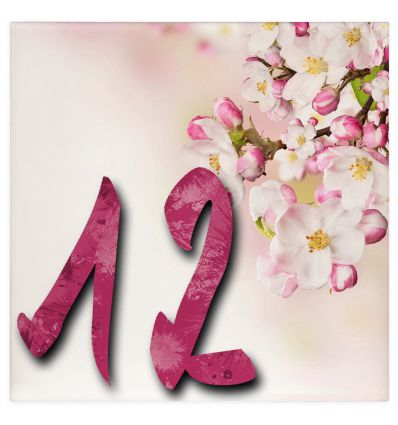 Plaque numéro de maison fleuri