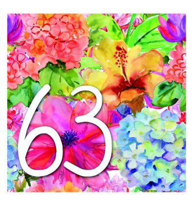 Plaque numéro de maison fleurs aquarelles