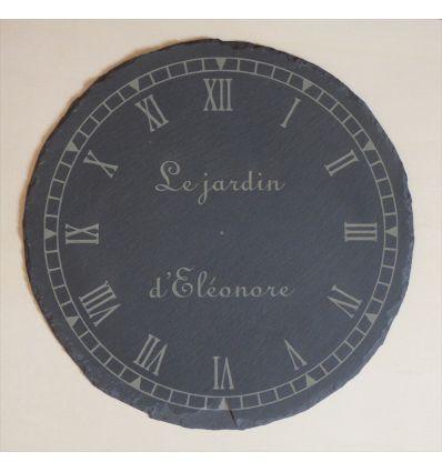 Horloge ronde ardoise personnalisée