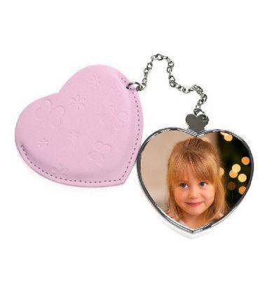 Miroir sac à main Coeur Rose