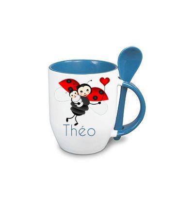 Mug Cuillère Personnalisé Bleu