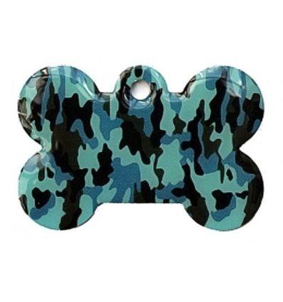 Médaille chien Os Camouflage Bleu