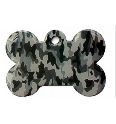 Médaille chien Os Camouflage Gris