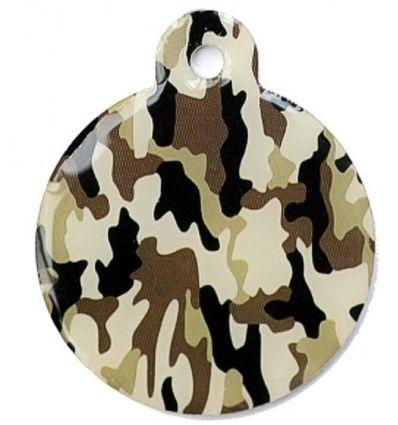 Médaille chien Ronde Camouflage Brun