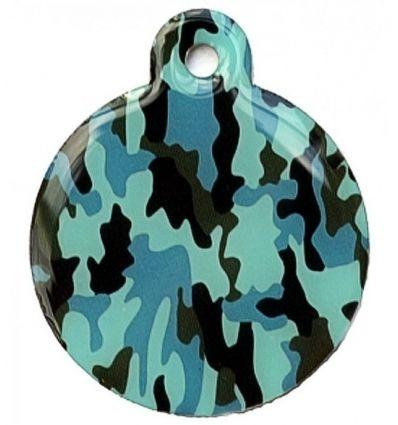 Médaille chien Ronde Camouflage Bleu