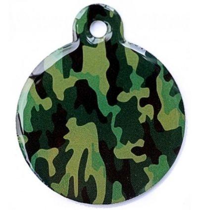 Médaille chien Ronde Camouflage Vert