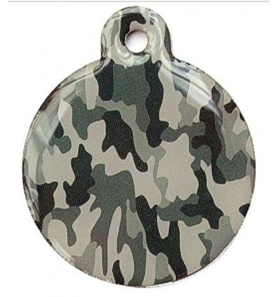 Médaille chien Ronde Camouflage Grise