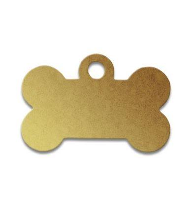 Médaille os de chien alu jaune