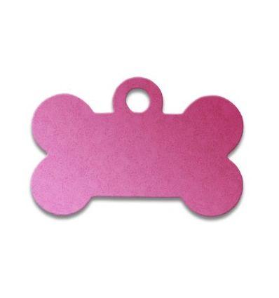 Médaille os de chien alu rose