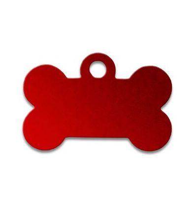 Médaille os de chien alu rouge