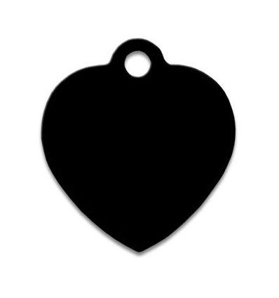 Médaille chien coeur alu noir