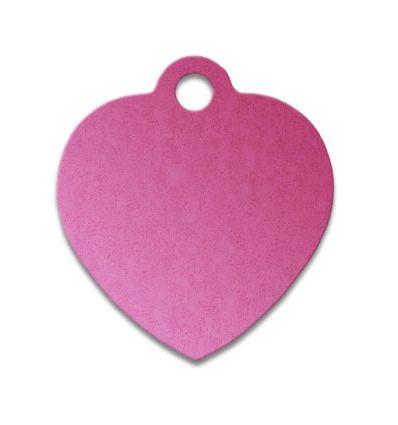 Médaille chien coeur alu rose