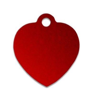 Médaille chien coeur alu rouge