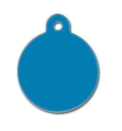 Médaille chien alu ronde bleu