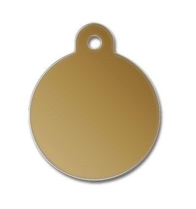 Médaille chien alu ronde jaune