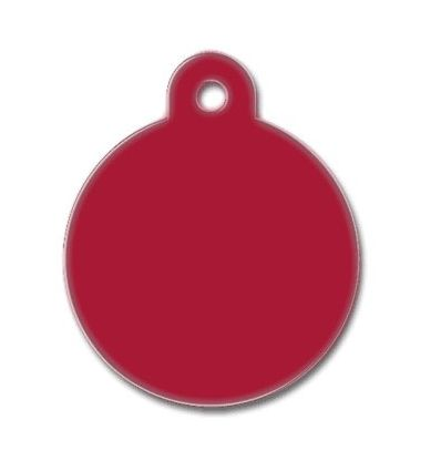Médaille chien alu ronde rouge