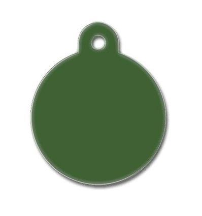 Médaille chien alu ronde vert