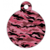 Médaille chien Ronde Camouflage Rose