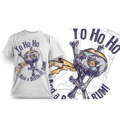 Tee-Shirt Personnalisé Blanc motif Crane Pirate