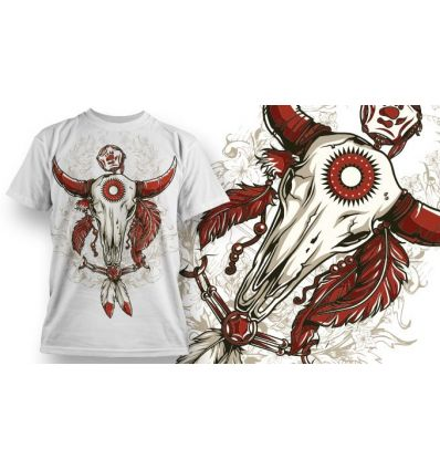 Tee-Shirt Personnalisé Blanc motif Crâne Bison