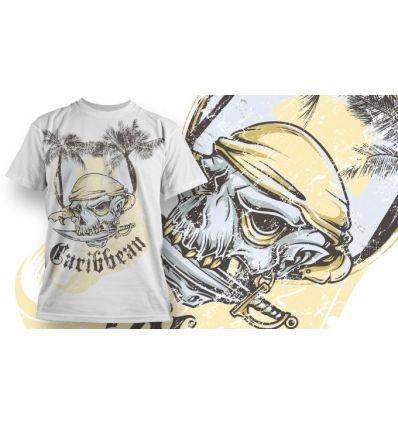 Tee-Shirt Personnalisé Blanc motif Carribean Skull