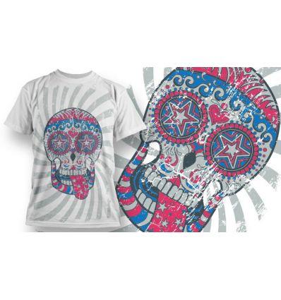 Tee-Shirt Personnalisé Blanc motif Sugar Skull tire la langue