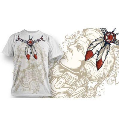 Tee-Shirt Personnalisé Blanc motif Indian
